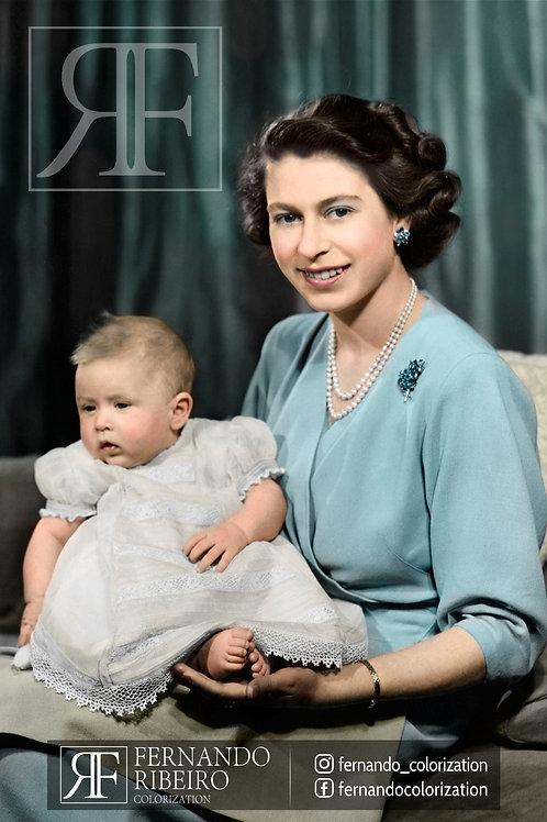 Rainha Elizabeth II (jovem) e Príncipe Charles
