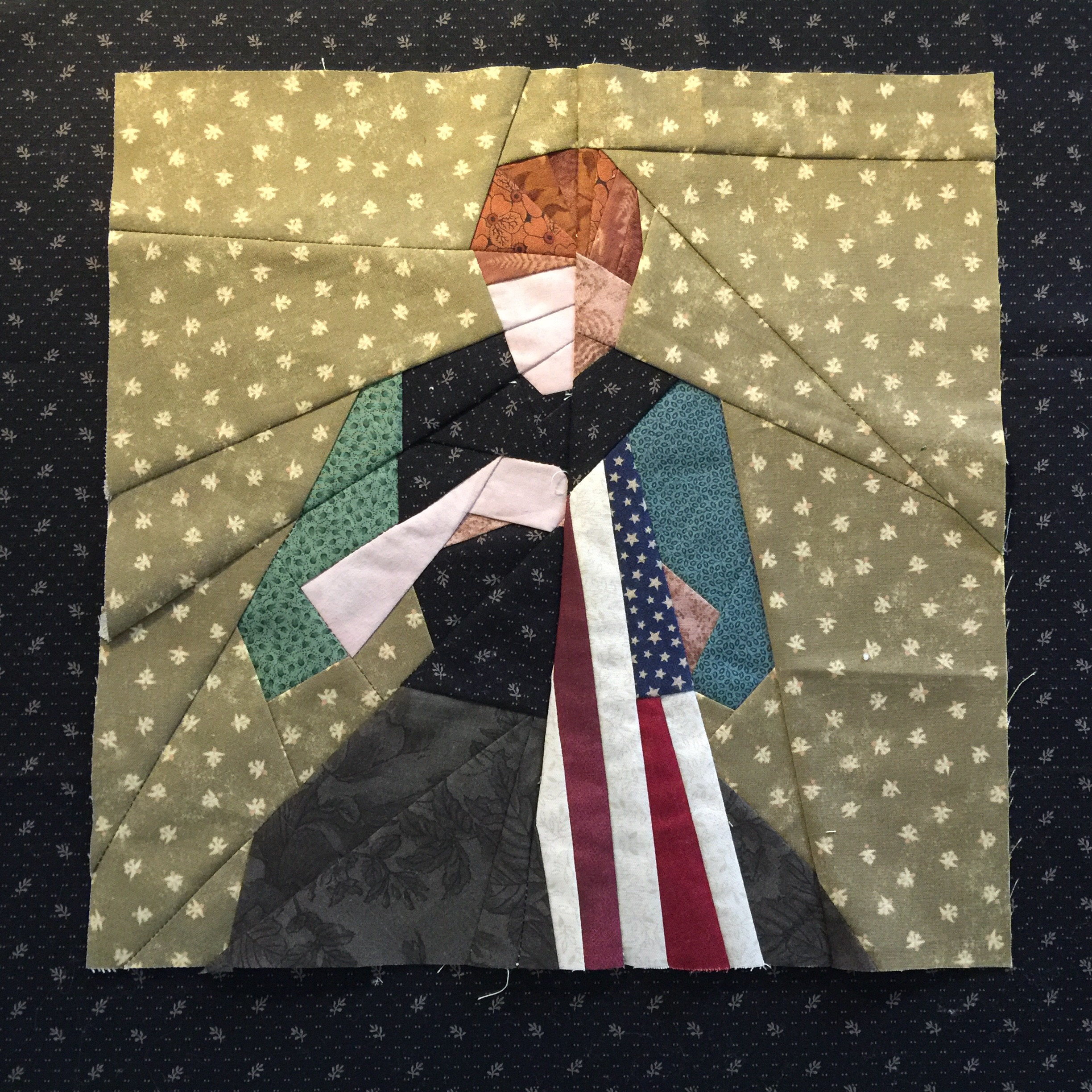 Young Girl Sewing  Flag