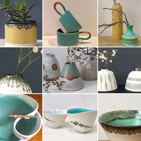 White, green and ochre pieces montage (Karen Beard Ceramics - see separate email for images of Carter Art))