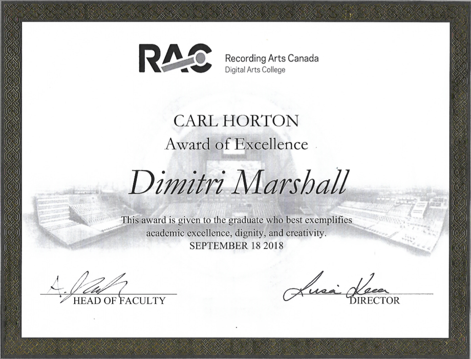 Dimitri Marshall - Award of Excellence.p