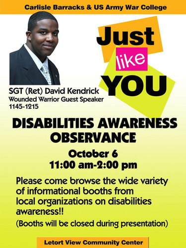 A disabilities awareness event put on by the Federal government. David Kendrick had the honor of being the guest speaker for a crowd of over 1000 federal employees.