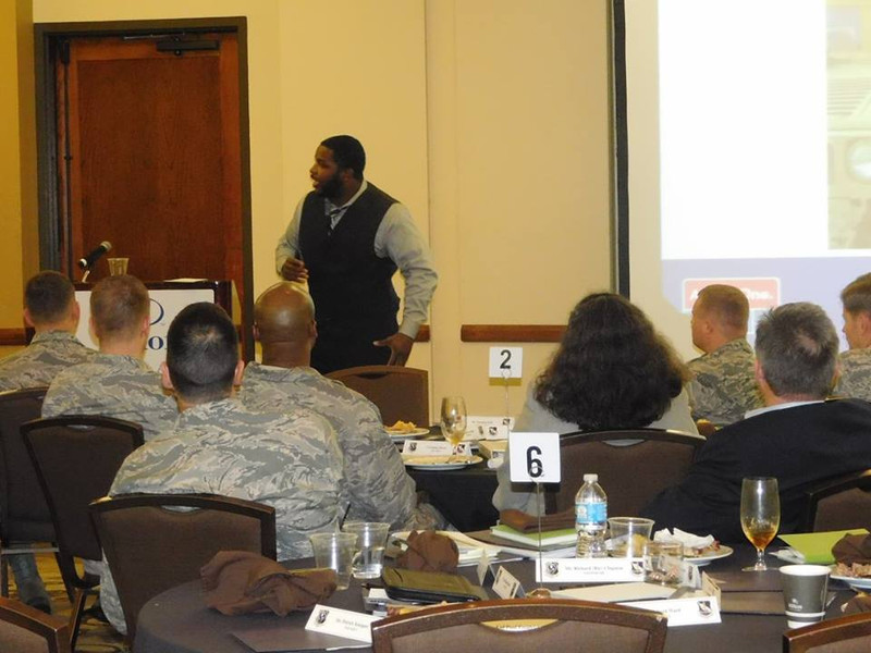 David Kendrick speaking to Air Force officials