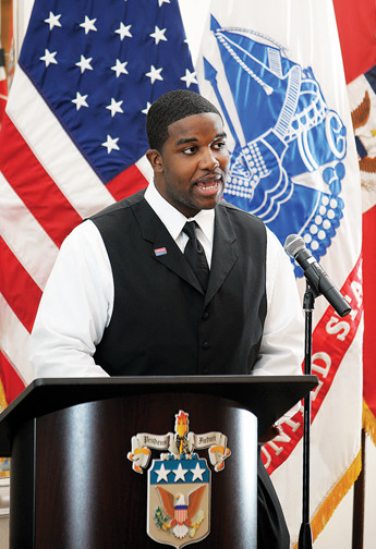David Kendrick speaking during a veterans day event