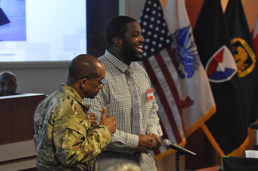 David Kendrick being recognized after speaking for U.S. Army Contracting Command