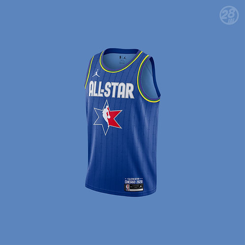 Bucks Giannis Antetokounmpo Jordan 2019-20 All-Star Blue Swingman Jersey