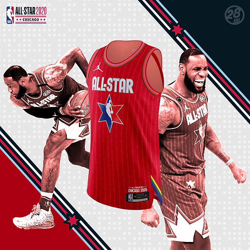 Lakers LeBron James Jordan 2019-20 All-Star Red Authentic Jersey