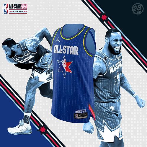 Lakers LeBron James Jordan 2019-20 All-Star Blue Authentic Jersey