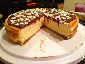 White Chocolate Cheesecake with Dark Chocolate Ganache