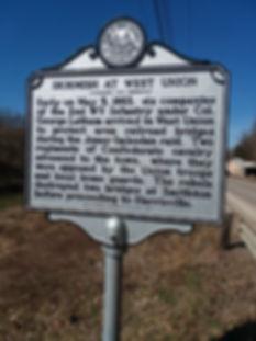 Jones Imboden Raid marker in West Union.
