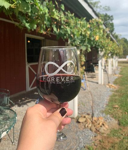 Etched Wine Glass, 13 oz.