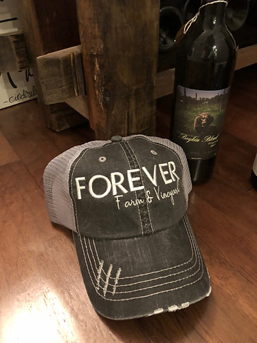 Black Distressed Trucker's Hat w/Forever