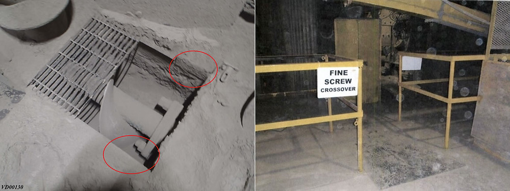 Pictures of the (Left) missing supports for the grating at the time of the incident and (Right) the remediated work location