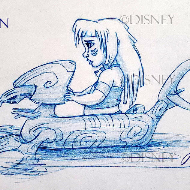 Baby Kida On A Floater Drawing