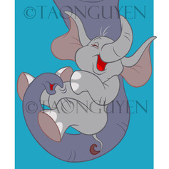 Baby Elephant Trunk with Blue Background