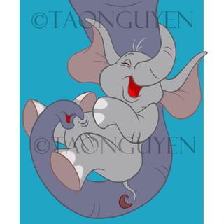 Baby Elephant with Blue Background