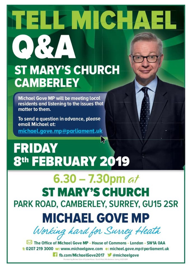 A chance to raise your concerns with Michael Gove MP Tomorrow!