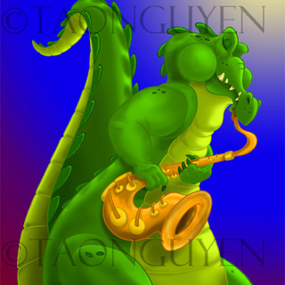 Saxy Alligator with Colored Background