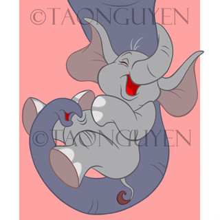 Baby Elephant with Pink Background