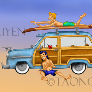 The Surf Scene with Colored Background