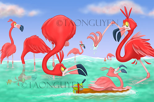 Flamingos (11 x 17 Printed Artwork)