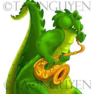 Saxy Alligator with White Background