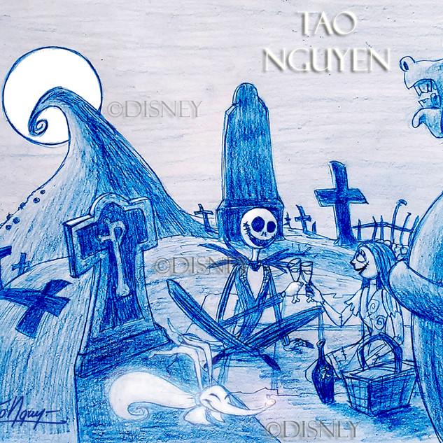 Jack & Sally's Moonlight Picnic Drawing