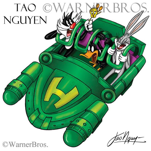 Looney Tunes on the Hulk Ride