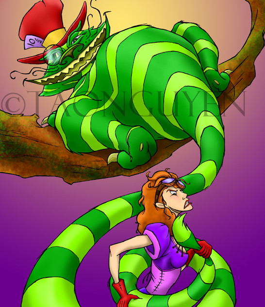 Steampunk Cheshire Cat & Alice