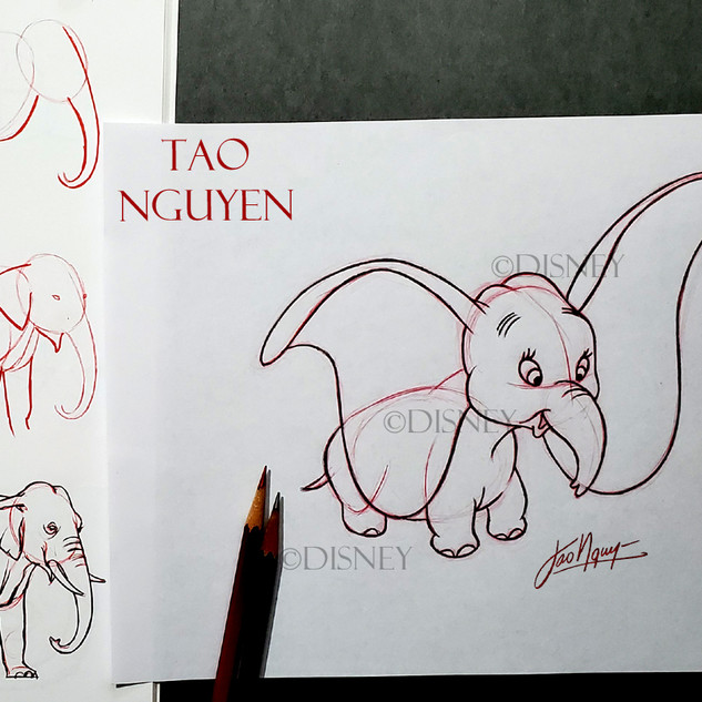 Step-By-Step Dumbo Drawing