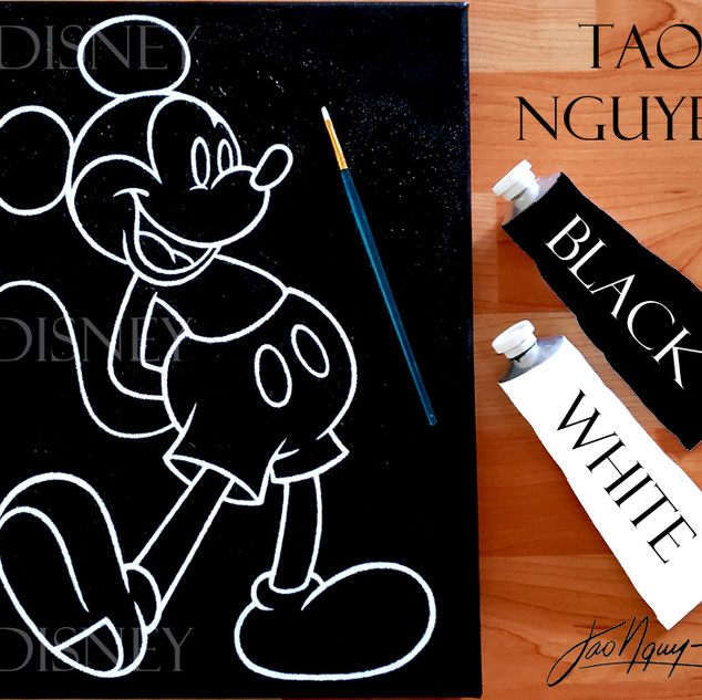 Black & White Mickey Mouse Painting
