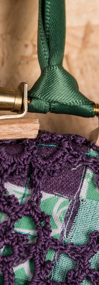purple crochet hoop detail