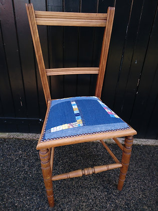 lightweight bedroom chair in reclaimed denim