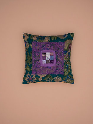 purple traycloth on green floral small square