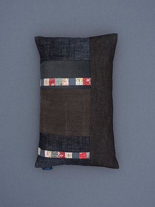 reclaimed denim patch cushions with stripes