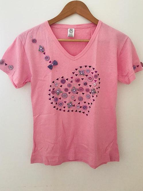 Camiseta Rosada/Apliques
