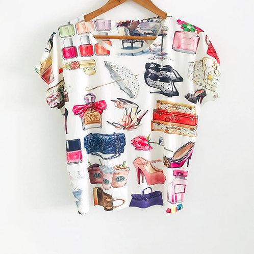 Camiseta Beige/Estampada