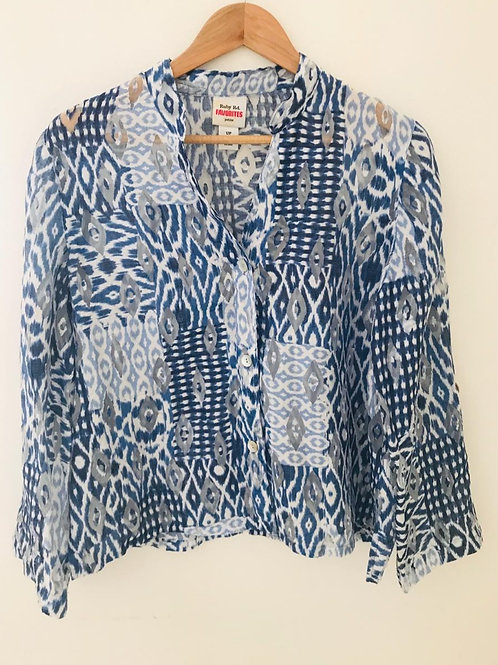 Camisa Estampada Azul/Blanco