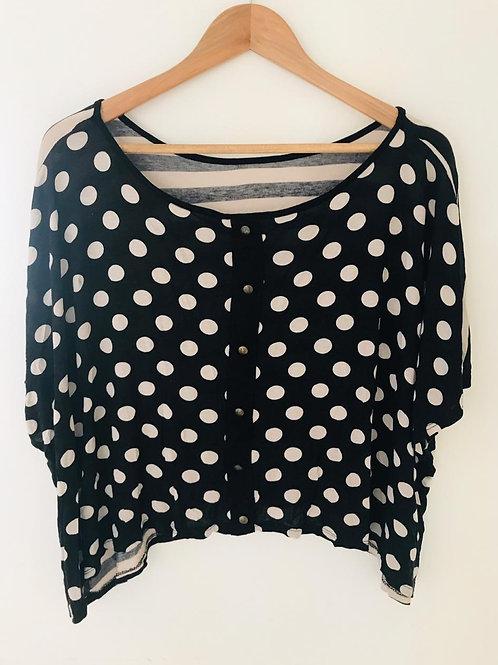 Camiseta Negra/Beige corta