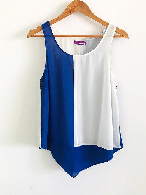 Camisa Velo Blanco/Azul