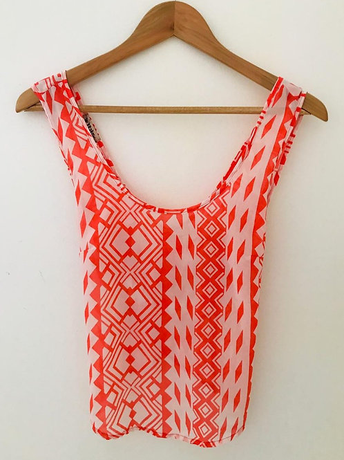 Camisa blanca/estampado naranja