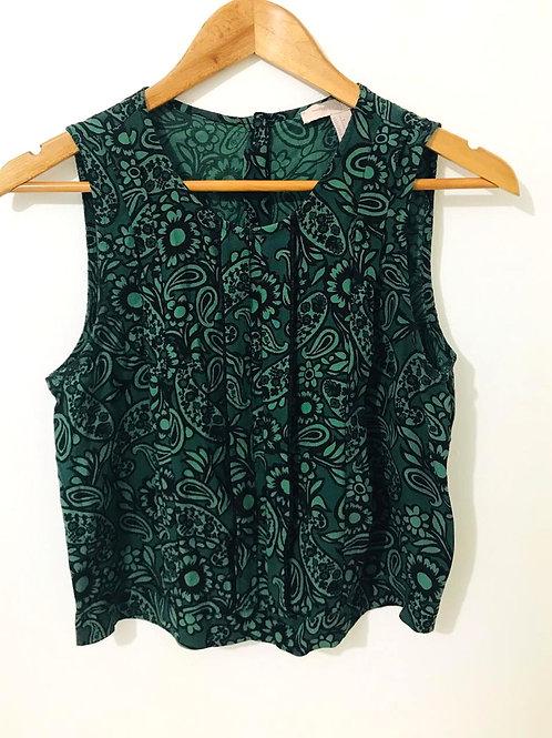 Camisa Negra/Verde Estampado