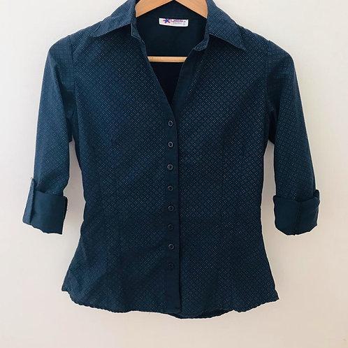 Camisa Fondo Azul/Estampada