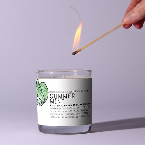 Summer Mint Beeswax Candle