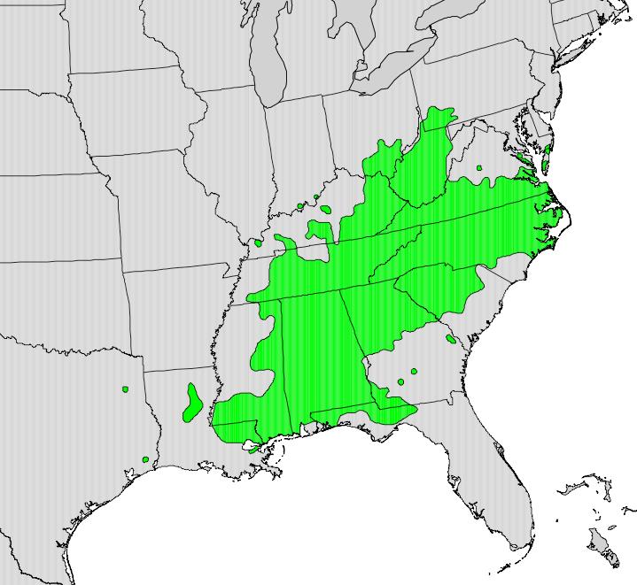 Sourwood Tree Range Map, Southeastern United States