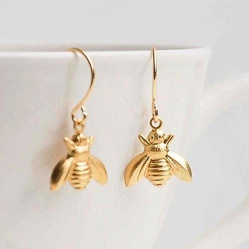 Gold Bee Earrings Spring Garden Bumble Bee Earrings