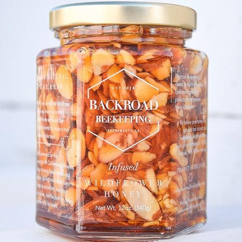 Almond Infused Raw Wildflower Honey