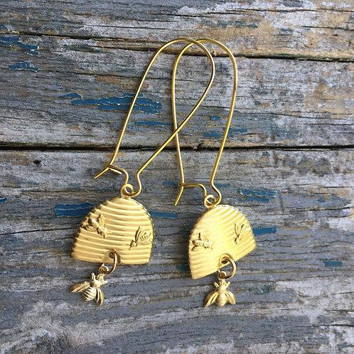 Beehive Earrings Gold Bee Earrings Long Bumblebees