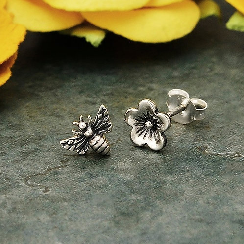 Sterling Silver Cherry Blossom & Honeybee Earings