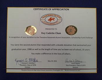 Certificate of Appreciation - Kay Cadett