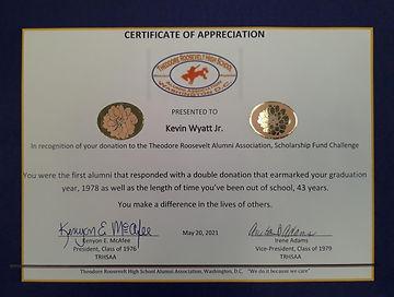 Certificate of Appreciation - Kevin Wyat
